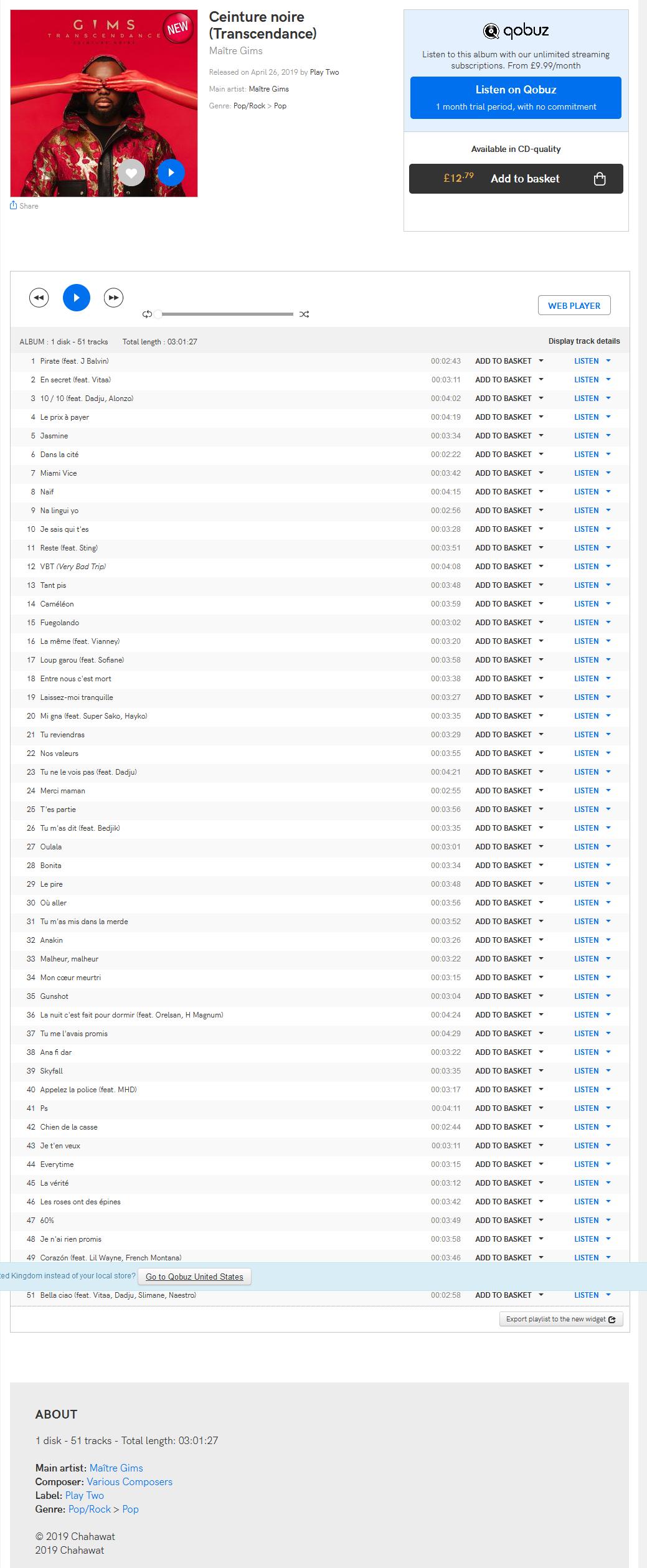 Maître Gims - Ceinture noire (Transcendance) album [2019] Optimize