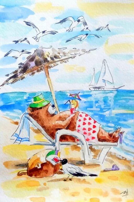 Смешные картинки про отдых на море и обгорание, для открытки мальчику