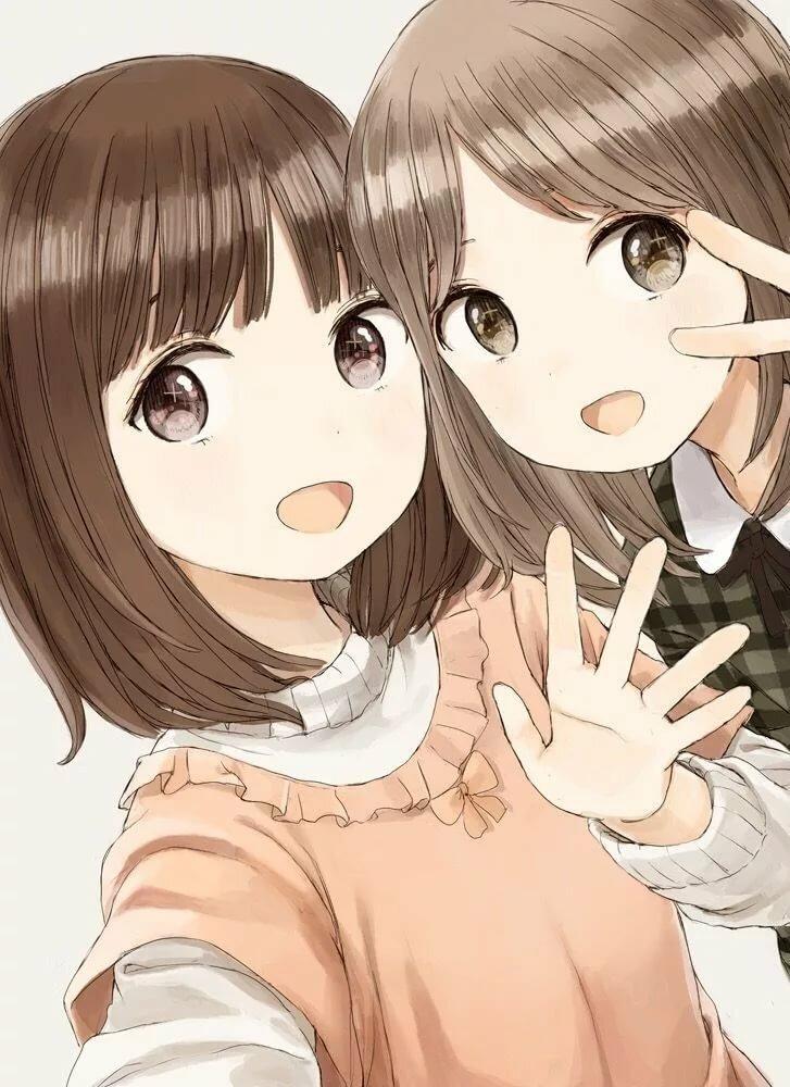 Аниме картинки двух подружек