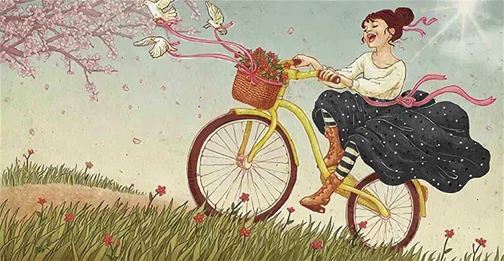 Открытки с девушкой на велосипеде, белые картинки