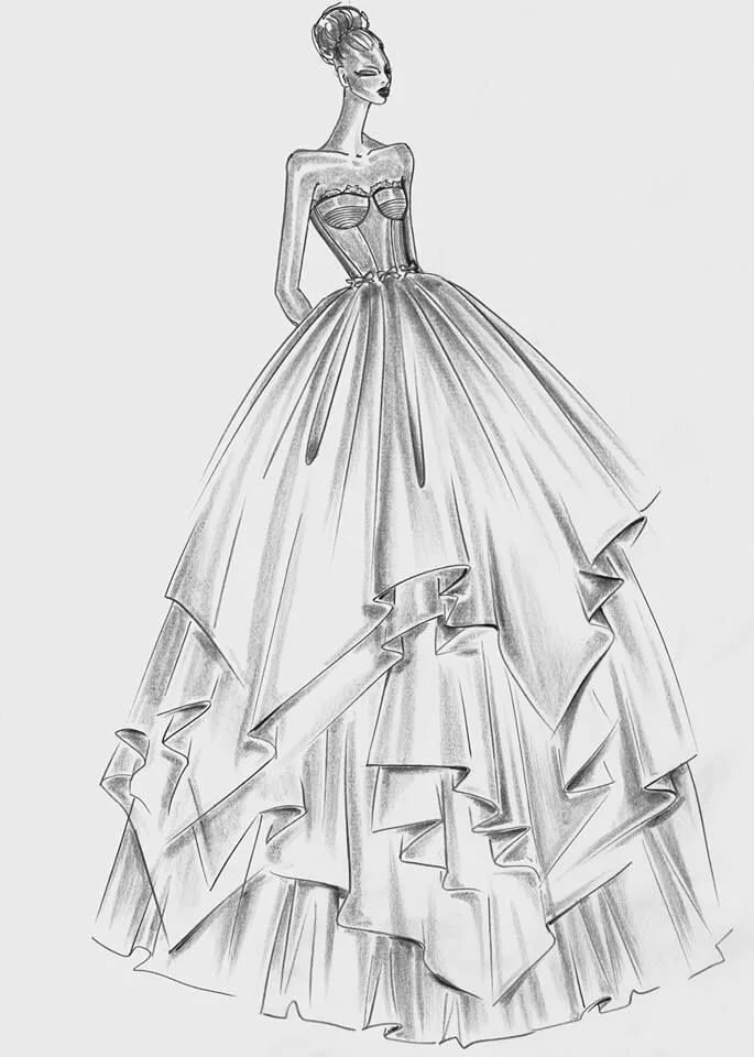 Картинки платьев рисунки карандашом