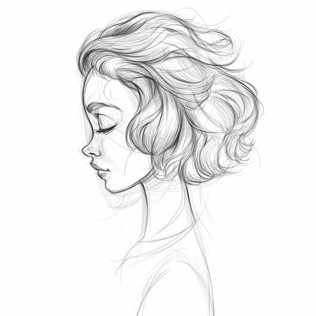 Прикольные картинки для срисовки девушки боком