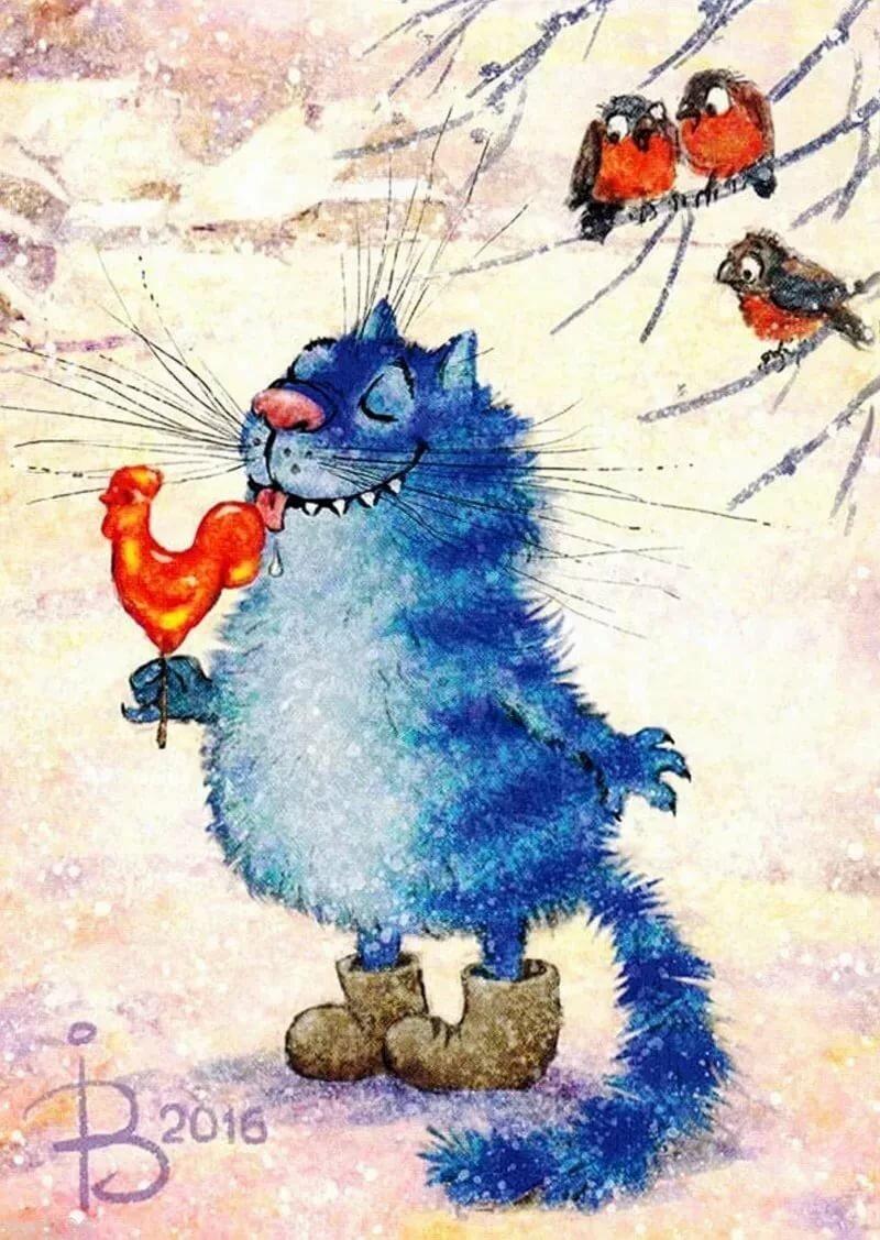 Веселые рисунки котов зимой, малыши