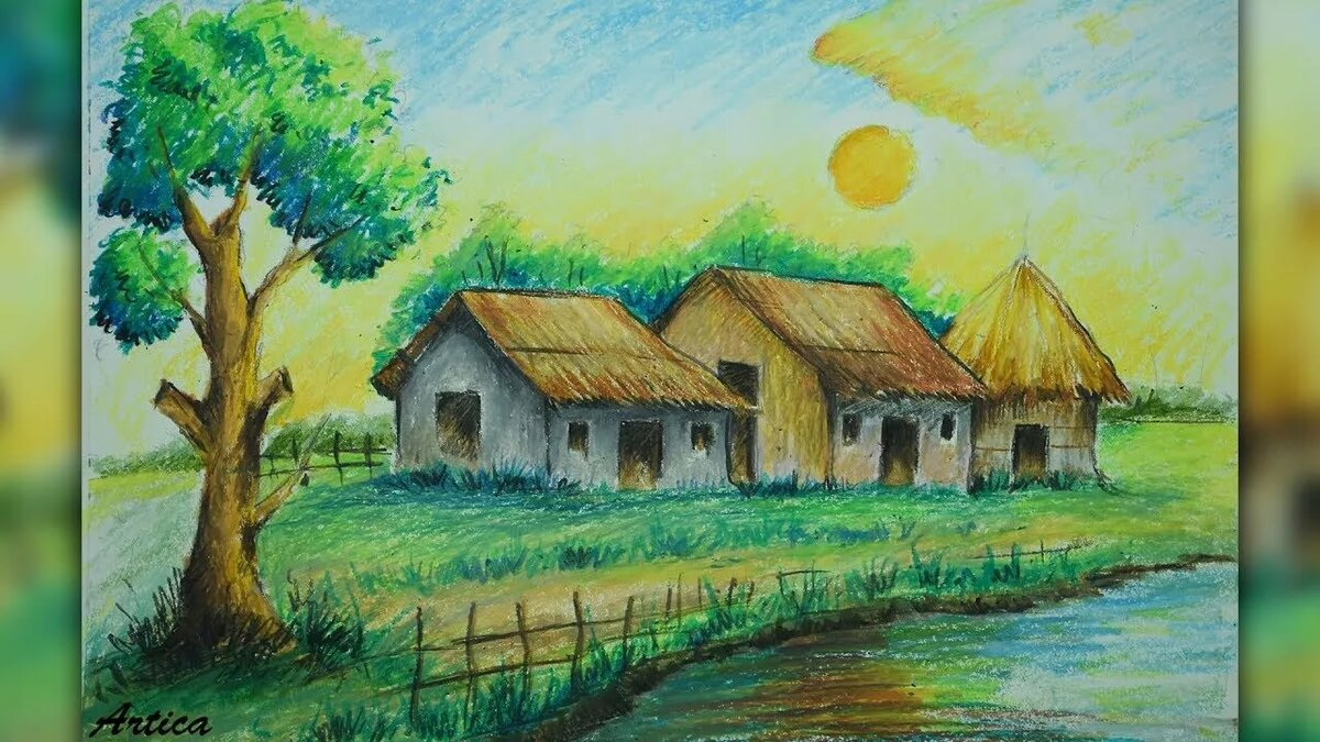 деревня картинки для рисования