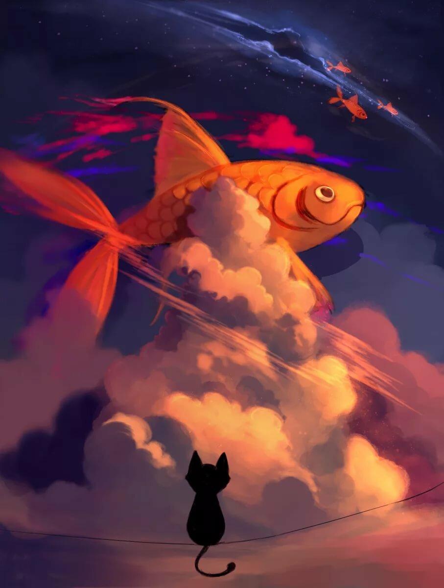 Картинка золотая рыбка кот