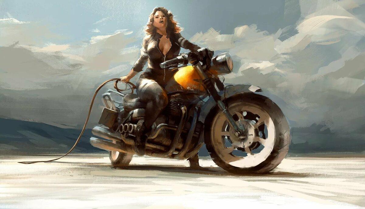 Открытки с девушками и мотоциклами