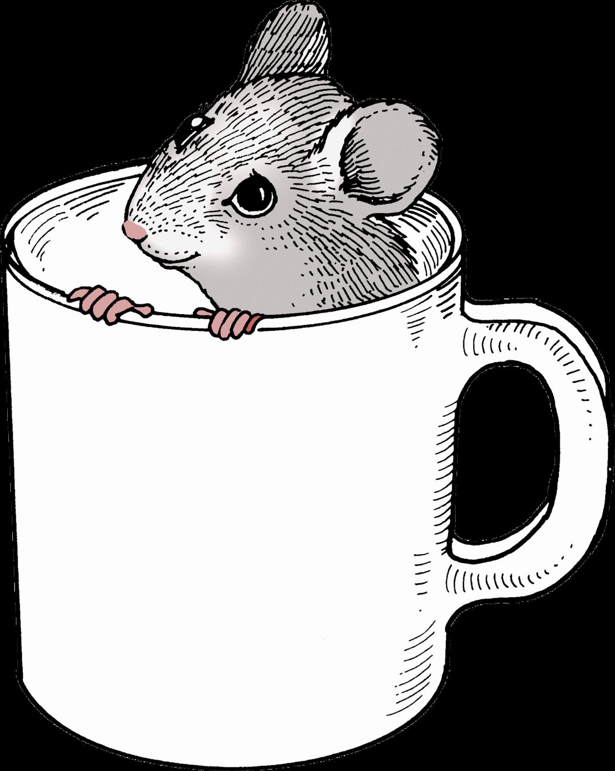 Черно-белая картинка мыши на прозрачном фоне для детей
