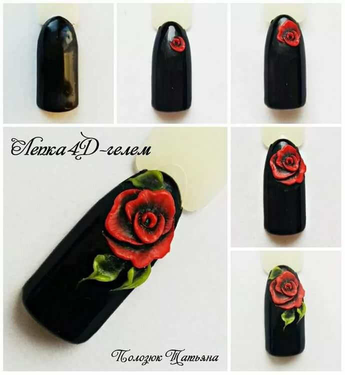 первый дизайн ногтей розы фото пошагово сразу два