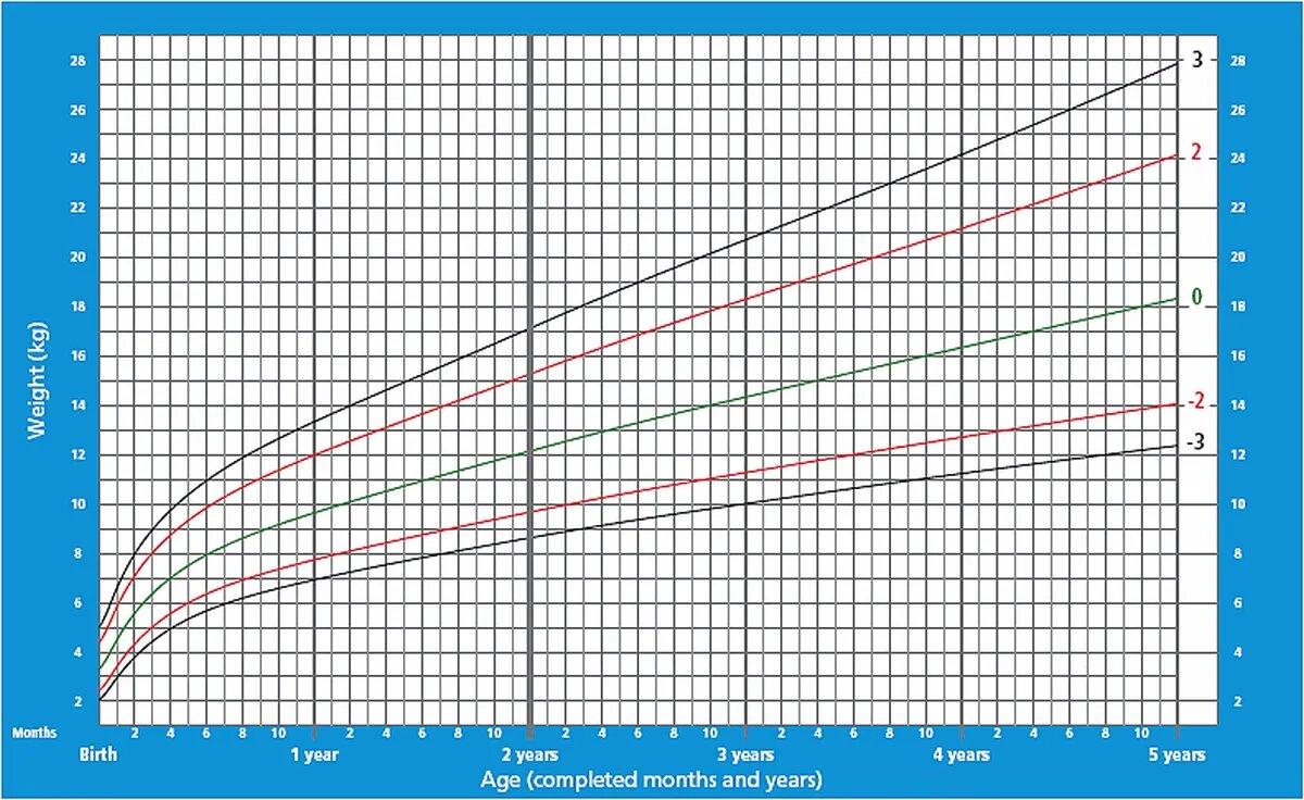 График прибавки веса для мальчиков от 0 до 5 лет