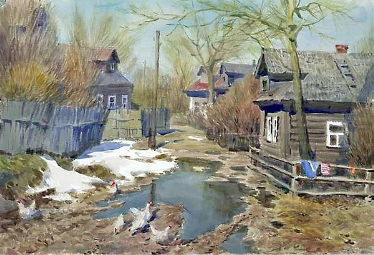 картинки с изображением весны в деревне дома