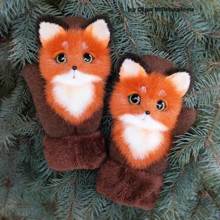 Картинка лисичка в рукавичках