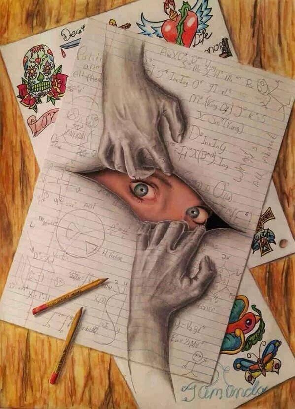 Рисунок на бумаге карандашом, цитаты