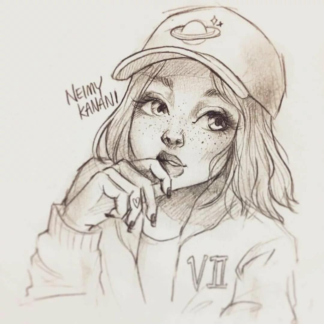 Картинки для срисовки красивые легкие и прикольные для девочек девушки