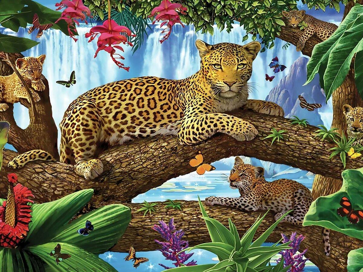 Тигр и леопард в лесу картинки