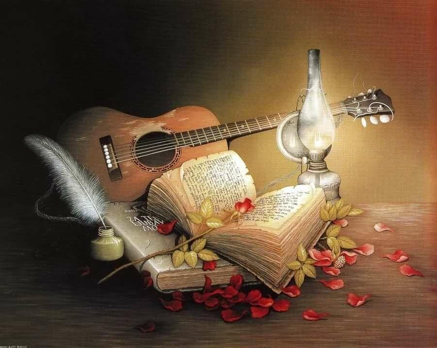 Открытка с гитарой и цветами
