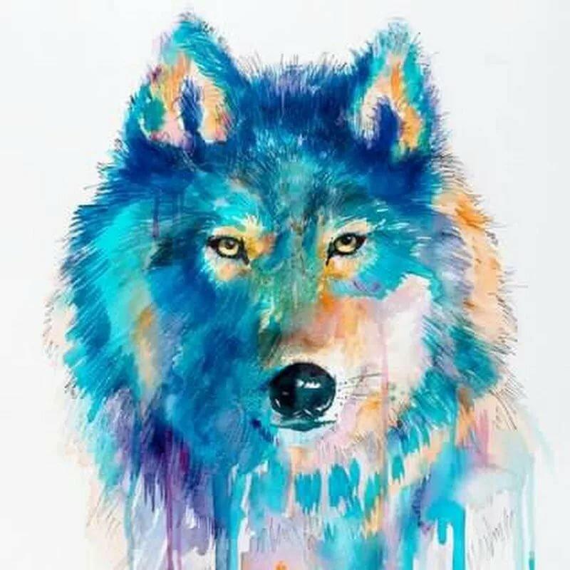 Волки рисунок красками картинки