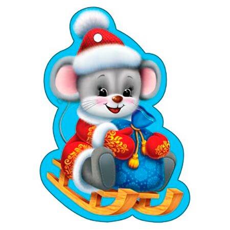 Картинка мышка цветная новогодняя