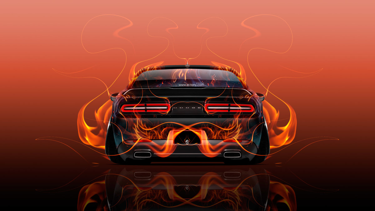 Awesome Dodge Challenger Muscle Back Fire Abstract Car 2015