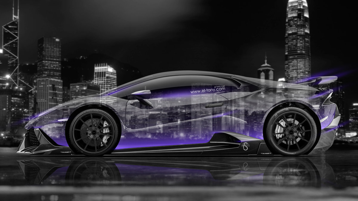 Lamborghini Huracan Mansory Tuning Side Crystal City Neon