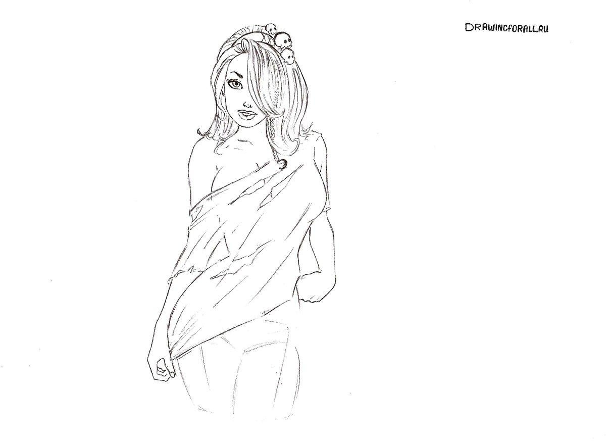 Картинки карандашом девушки в нижнем белье