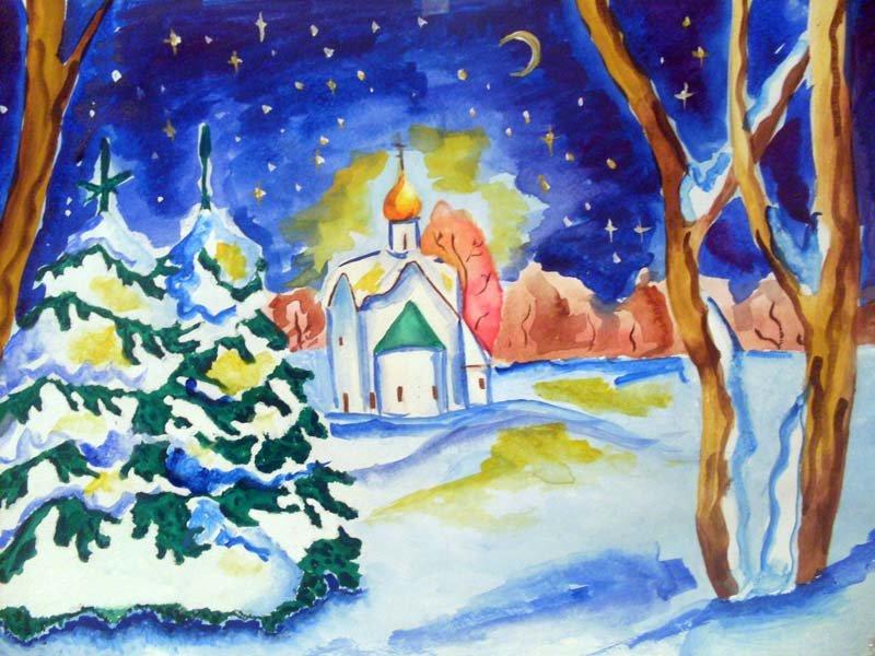 Нарисуй открытку к празднику рождества христова легкие для детского