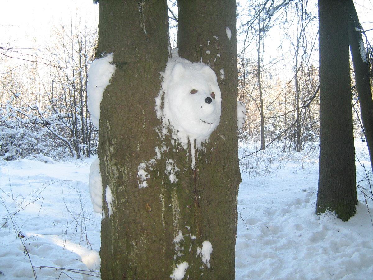 Заяц из снега на дереве фото