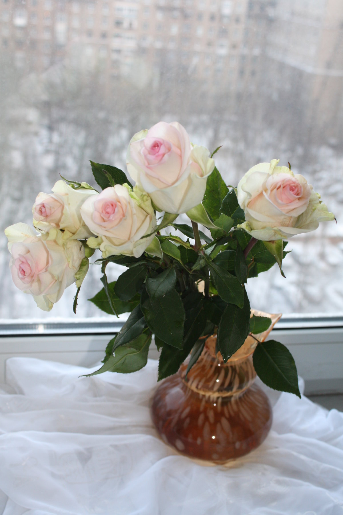 Букеты цветов на подоконнике фото