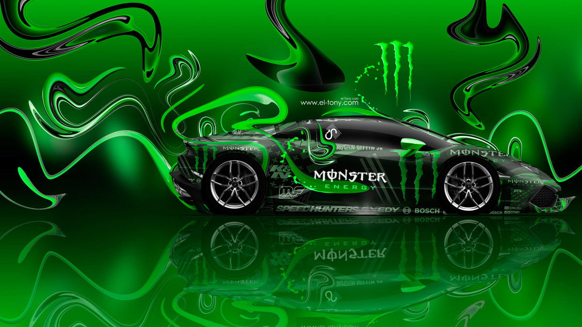 Monster Energy Lamborghini Huracan Side Super Plastic Car