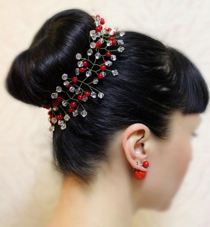 Свадебные украшения для волос своими руками из бисера и