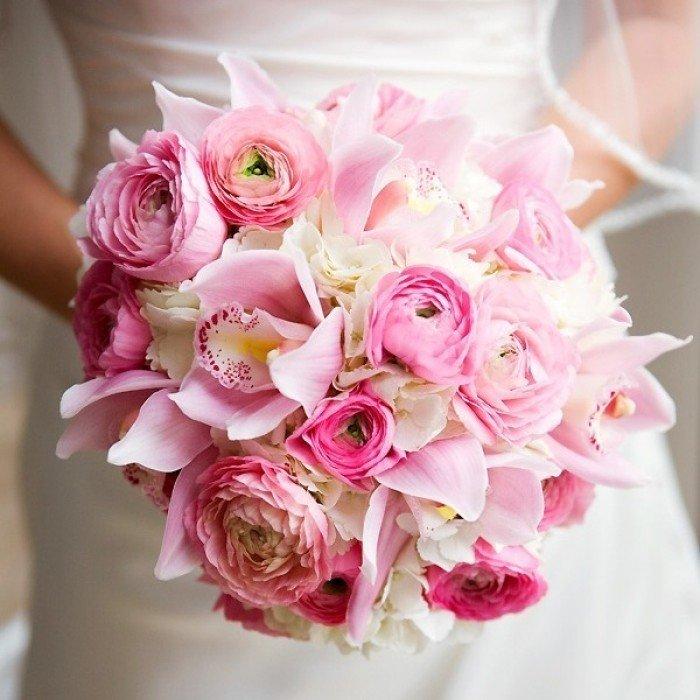 Букет невесты с розовыми орхидеями и розами, оптимальное время