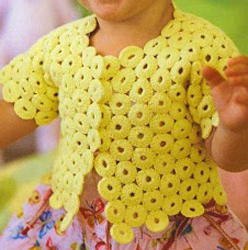 вязание крючком для детей желтой кофточки из круглых мотивов