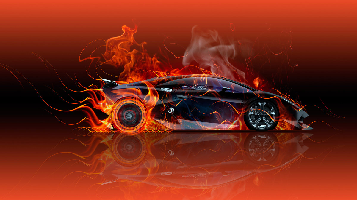 Lamborghini Sesto Elemento Side Fire Abstract Car 2015