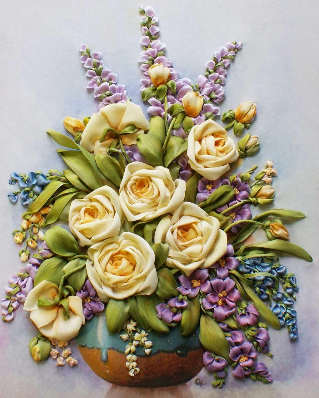 Вышивка лентами картинки розы, фотографию