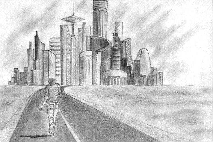 рисунки черно белым карандашом на тему город живёт она вместе