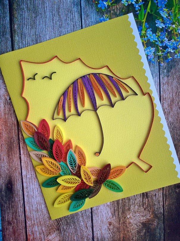 Осенние открытки своими руками для детского, пожелание