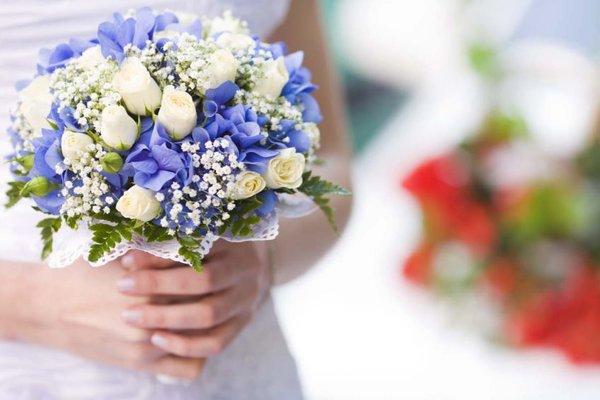Свадебные букеты дорогие, букет невесты из синих
