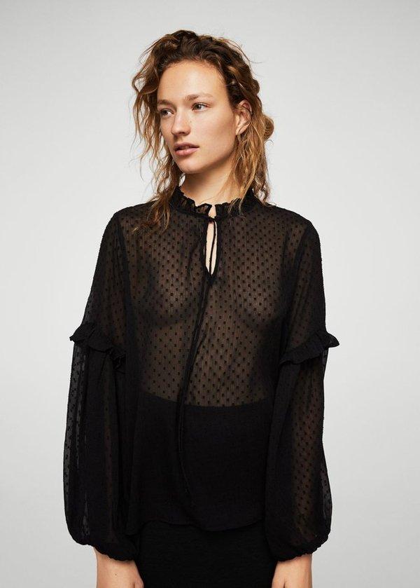 d7a2dfa8ca61300 Полупрозрачная блузка в крапинку MANGO • Состав: 100% полиэстер. • Цвет:  черный