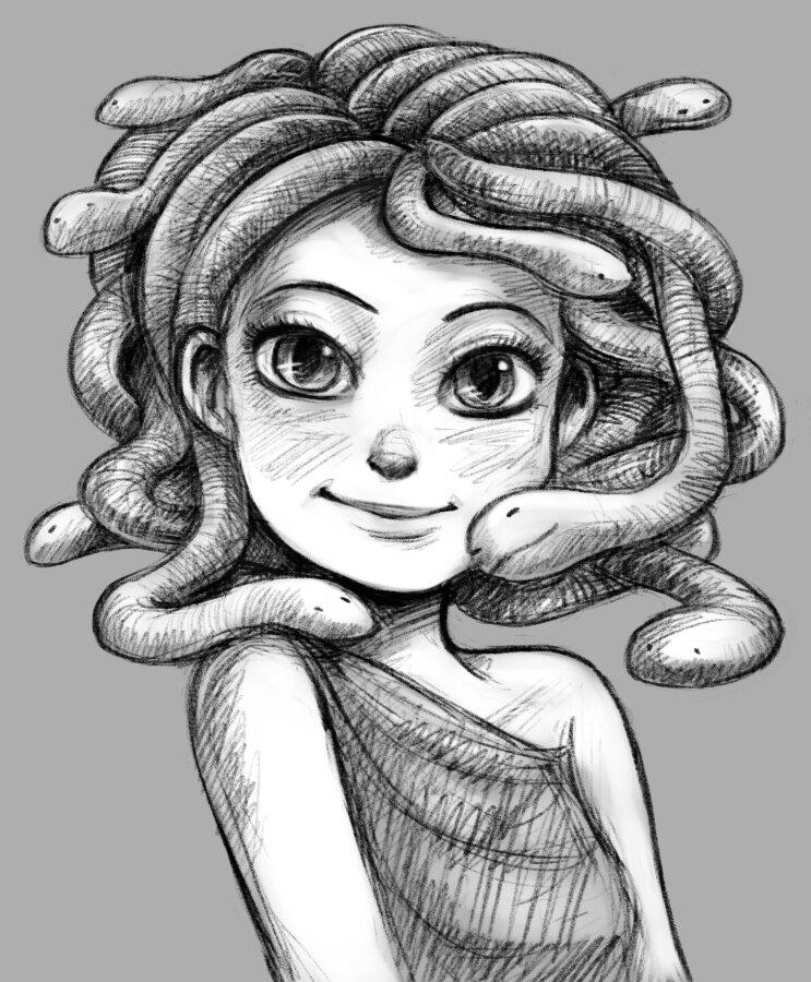 Рисунок медузы горгоны для детей 3 класса рисунки детей