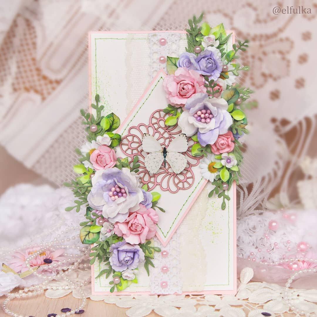 Открытка для, открытка с цветами скрапбукинг мастер