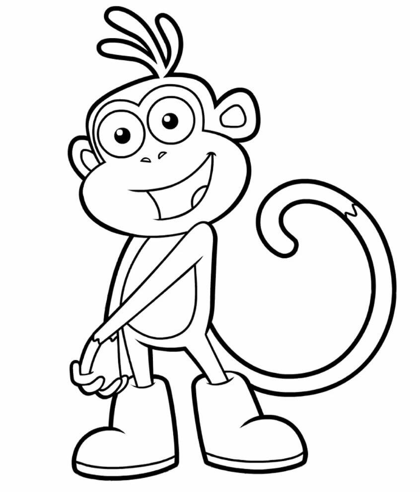 Раскраска картинка обезьянки