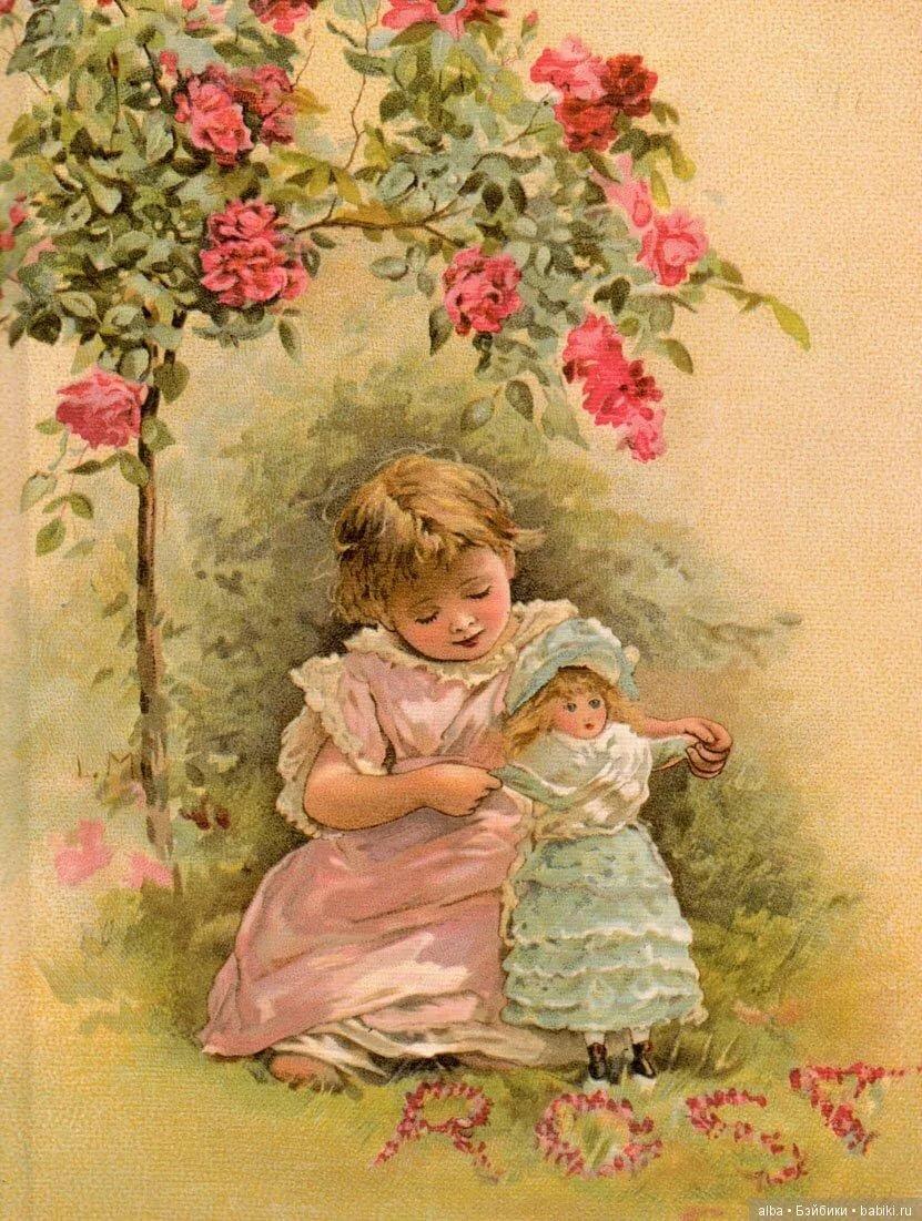 Девочка старая открытка, картинки