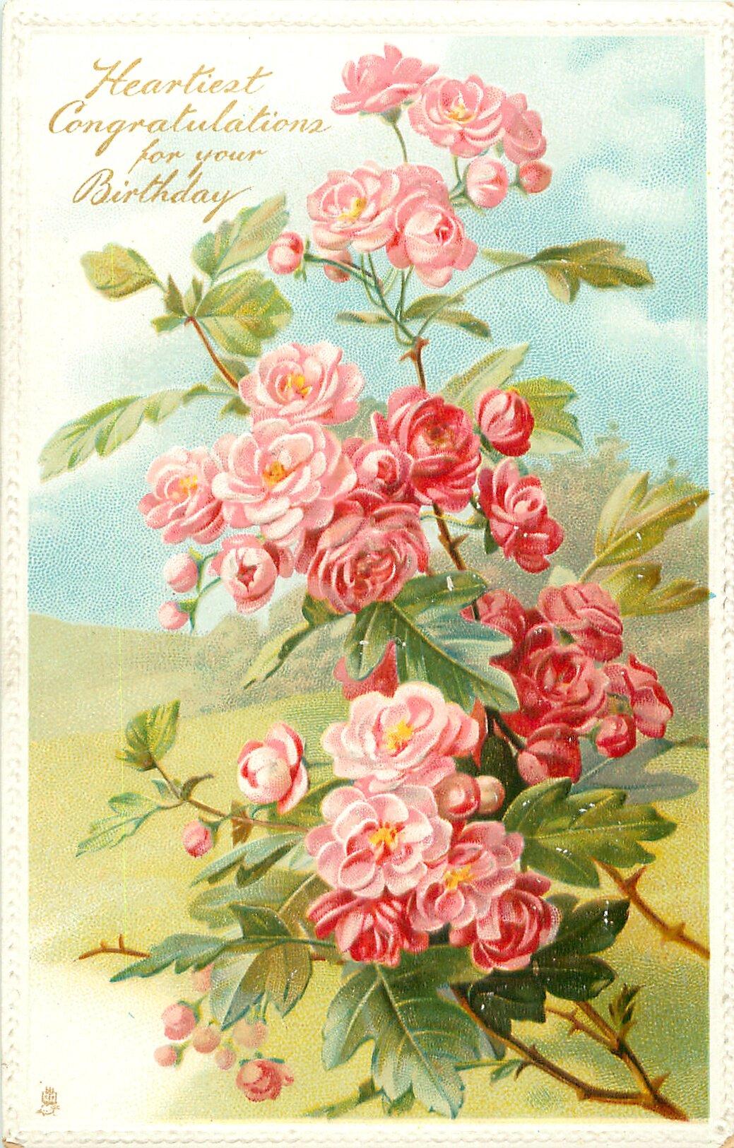 три открытка с днем рождения ретро розы малышева