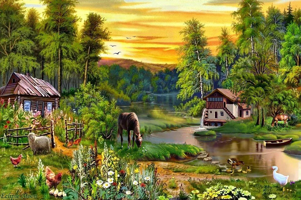 сейчас картинки на тему русская деревня землю, людям, медведь