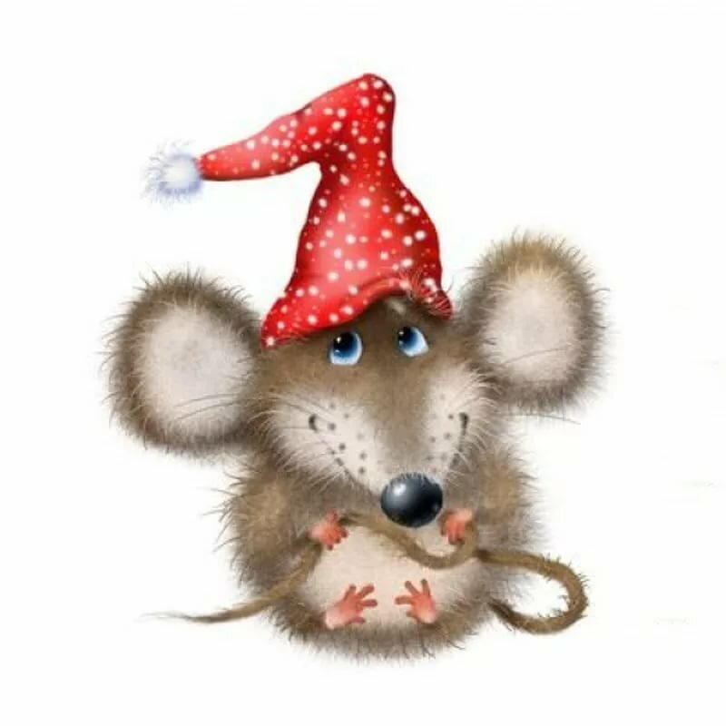 Новогодняя открытка с мышкой, поздравлением праздником