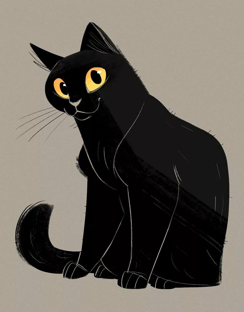 Черная кошка нарисованные картинки
