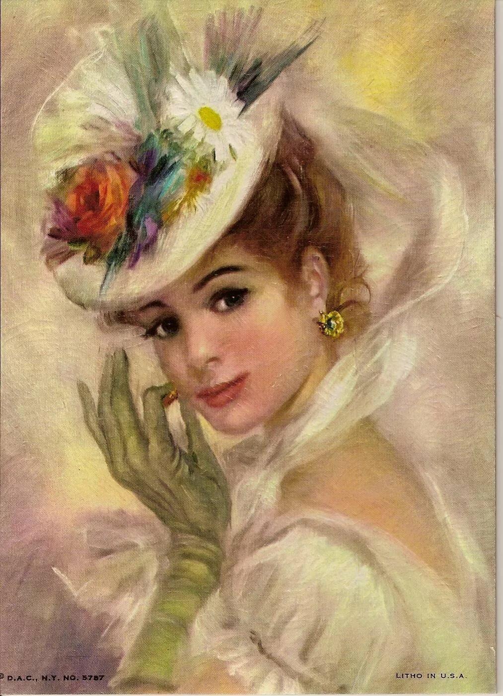 Розового цвета, женские образы в открытках