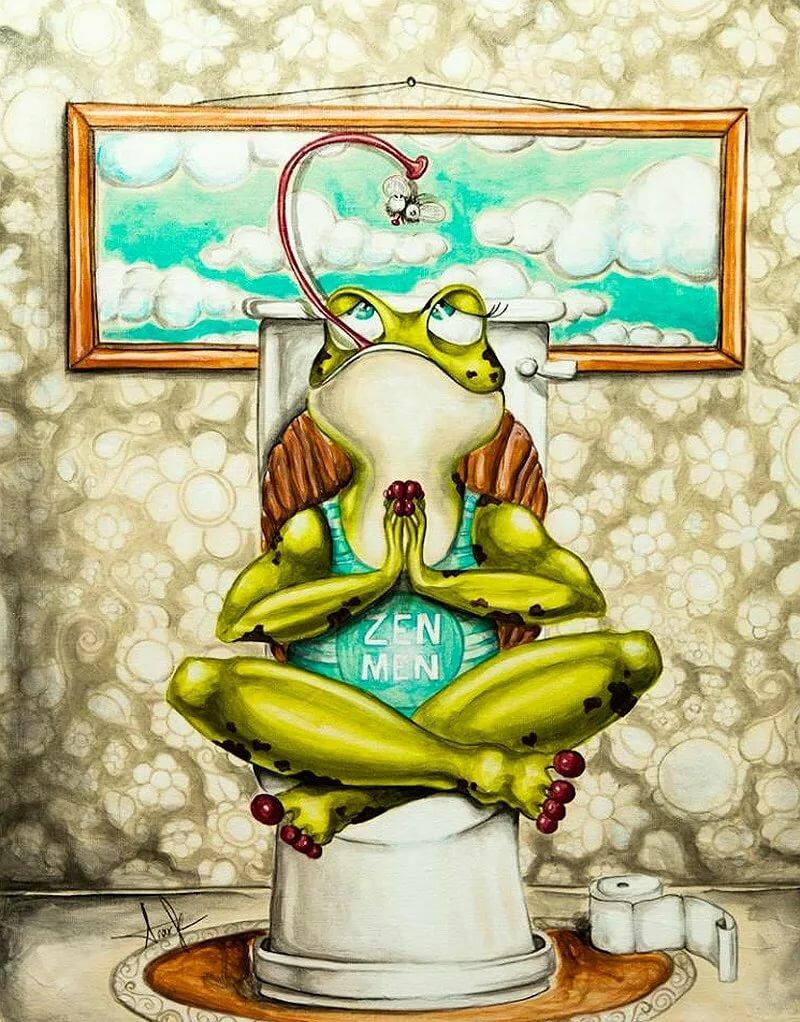 Бракосочетанием, картинки с лягушками на унитазе
