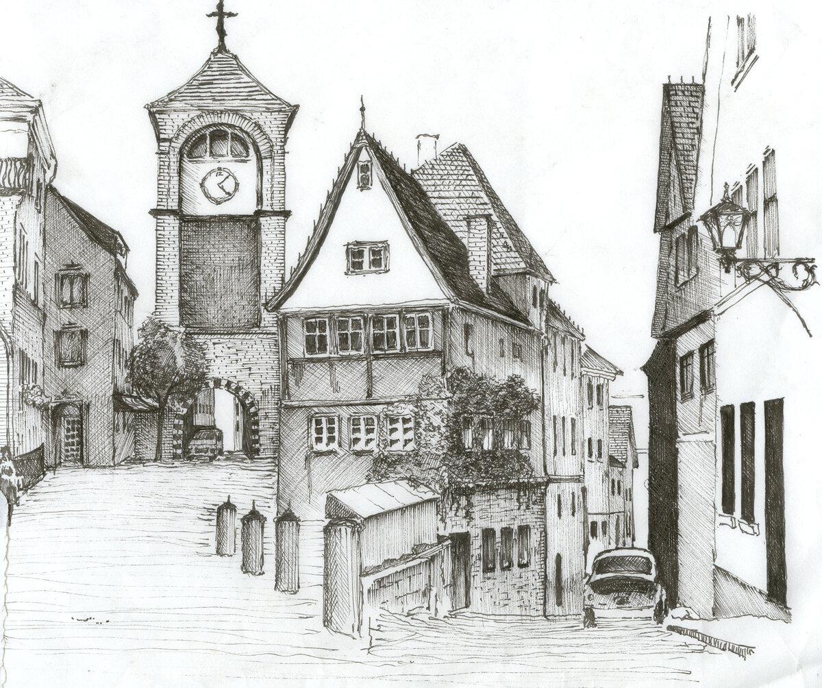 Днем, картинки старого города рисунки