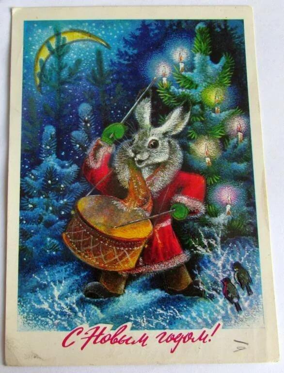 Открытки с новым годом год зайца