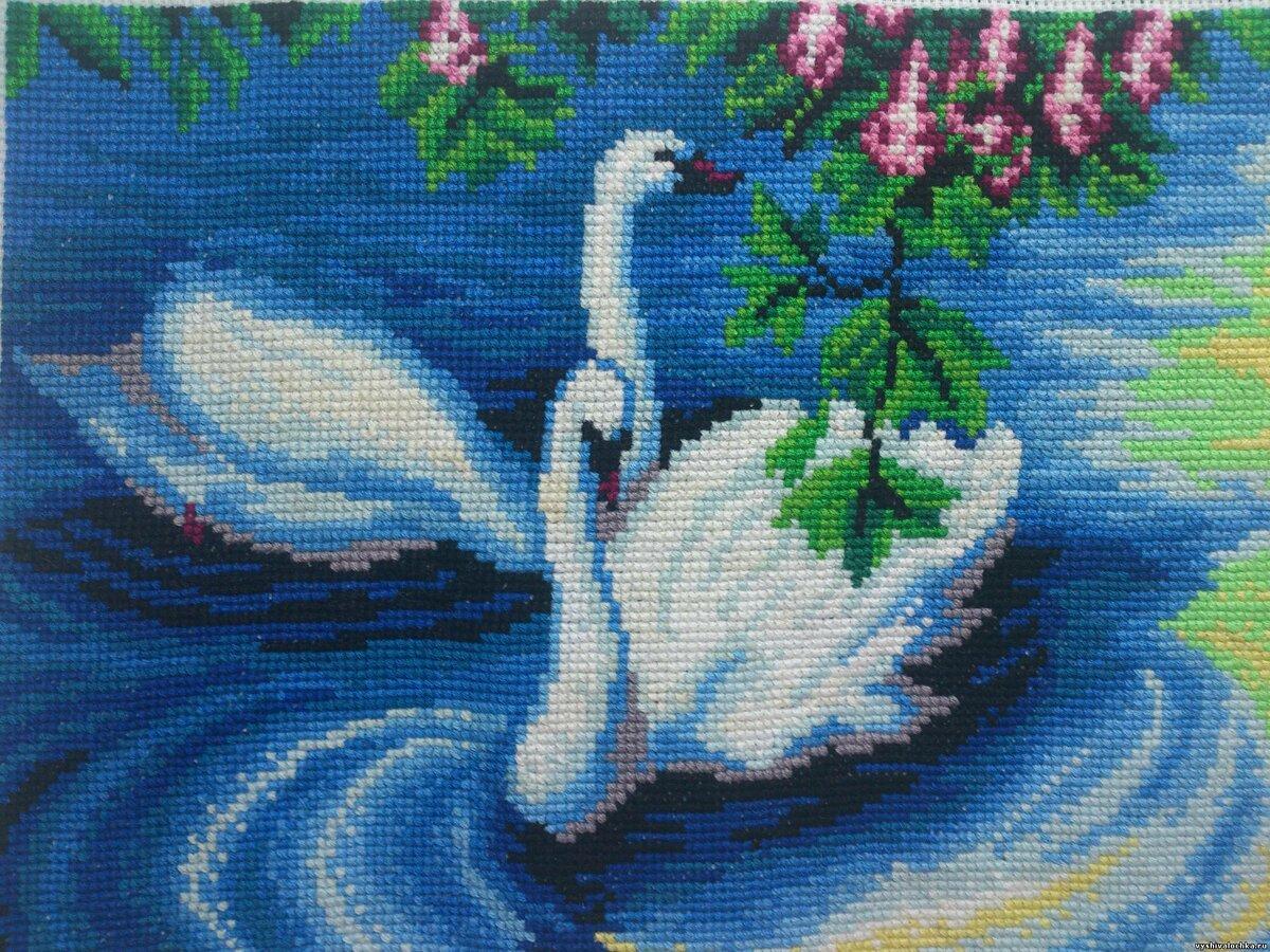 вышивание крестиком картинки лебеди уровень